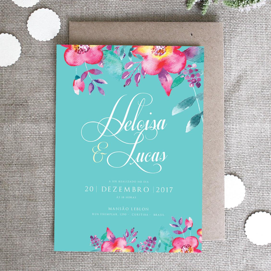 Convite de Casamento Tiffany Flowers – Papel e Letra Convites de Casamento 88d6232ad3