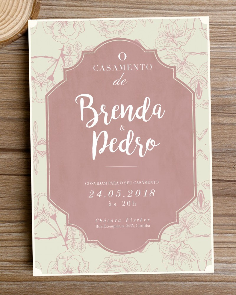 Fabuloso Convite de Casamento Marsala Flowers – Papel e Letra Convites de  BS04